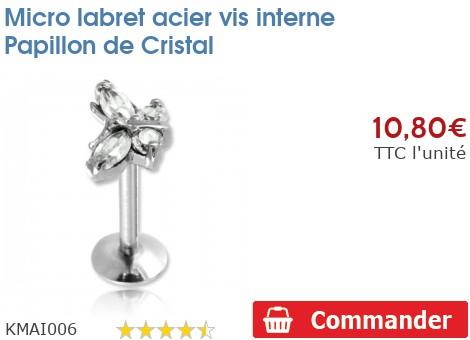 Micro labret acier vis interne Papillon de Cristal
