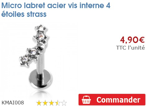 Micro labret acier vis interne 4 étoiles strass