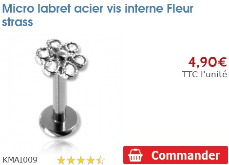 Micro labret acier vis interne Fleur strass
