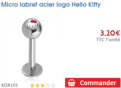 Micro labret acier logo Hello Kitty