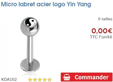 Micro labret acier logo Yin Yang