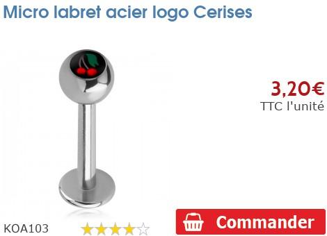 Micro labret acier logo Cerises