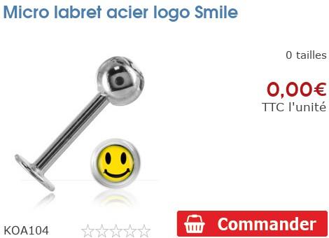 Micro labret acier logo Smiley