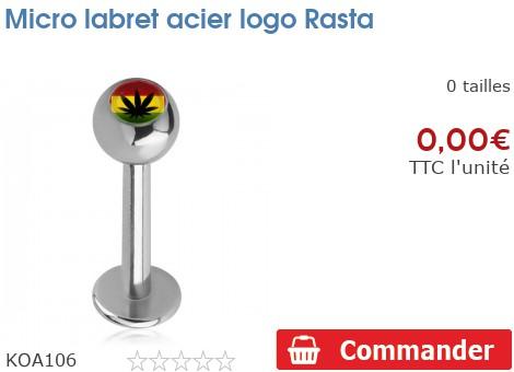 Micro labret acier logo Rasta