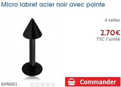 Micro labret acier noir avec pointe