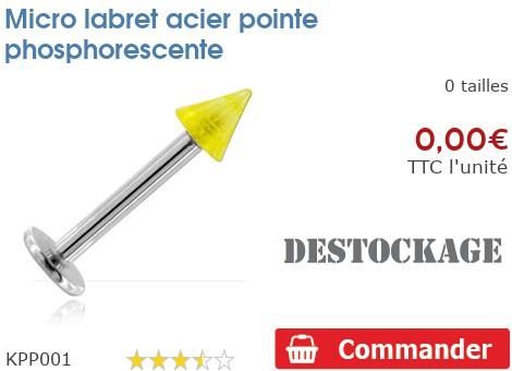 Micro labret acier pointe phosphorescente