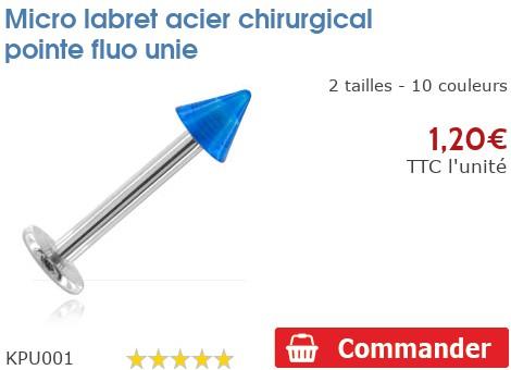 Micro labret acier chirurgical pointe fluo unie