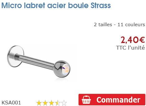 Micro labret acier boule Strass