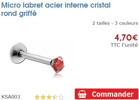 Micro labret acier interne cristal rond griffé