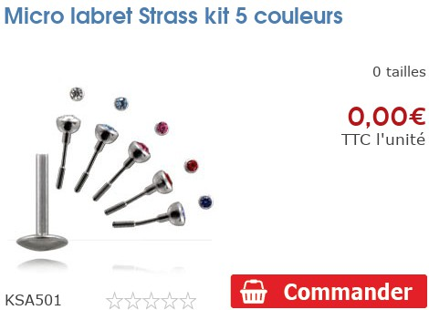 Micro labret Strass kit 5 couleurs