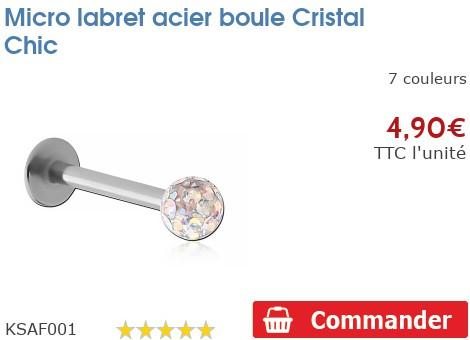 Micro labret acier pour Madonna boule Crystal chic