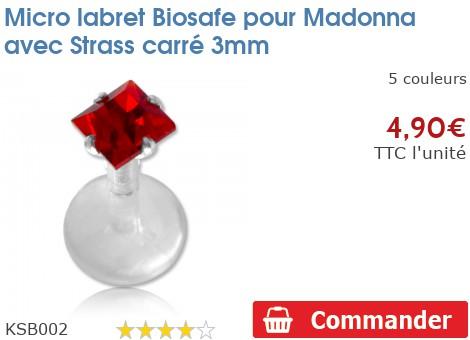 Micro labret BioSafe pour Madonna avec Strass carré 3mm