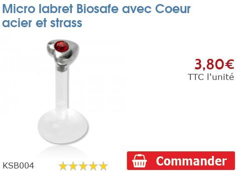 Micro labret BioSafe pour Madonna avec Coeur et strass