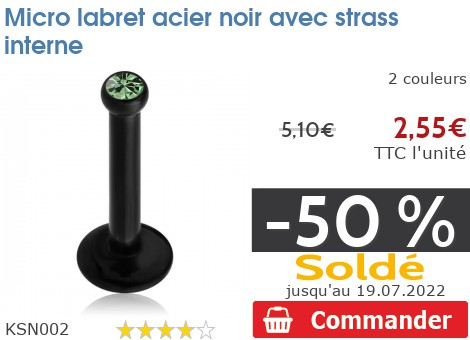 Micro labret acier noir Strass Vis interne