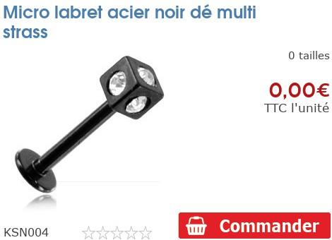 Micro labret acier noir dé multi strass