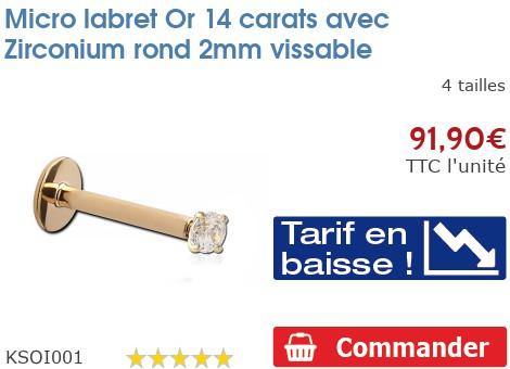 Micro labret Or 14 carats vis interne avec Zirconium 2mm