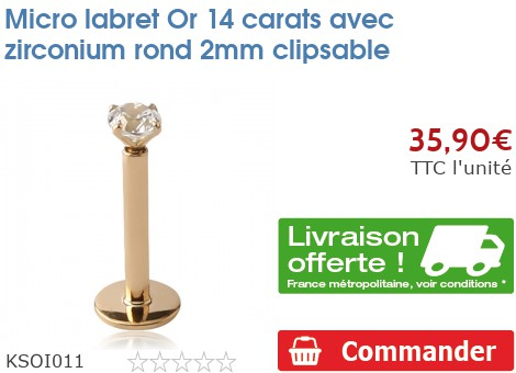 Micro labret Or 14 carats avec zirconium rond 2mm clipsable