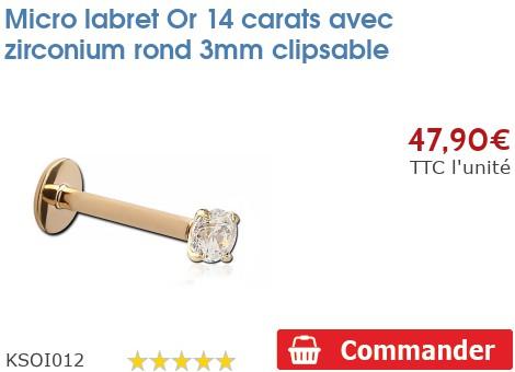 Micro labret Or 14 carats avec zirconium rond 3mm clipsable