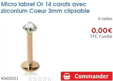 Micro labret Or 14 carats avec zirconium Coeur 3mm clipsable