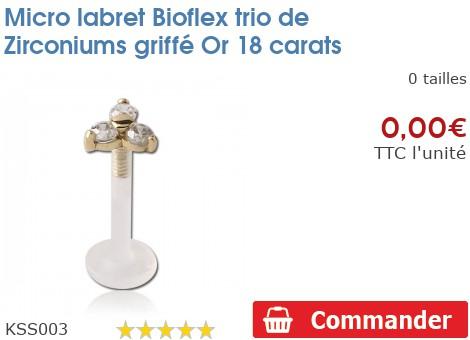 Micro labret BioFlex Fleur Zirconium 4mm griffée Or 18 carats
