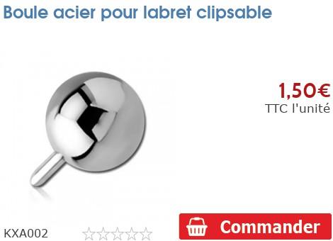 Boule acier pour labret clipsable