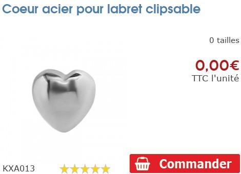 Coeur acier pour labret clipsable