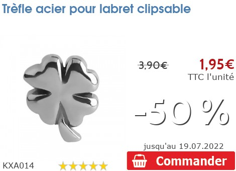 Trèfle acier pour labret clipsable