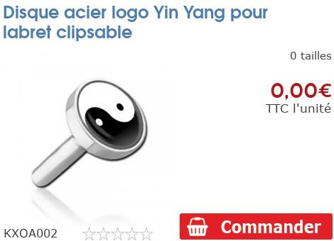 Disque acier logo Yin Yang pour labret clipsable