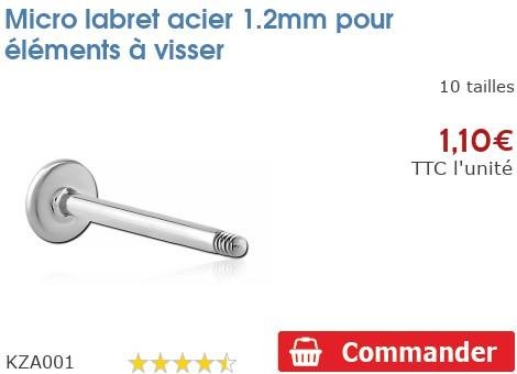 Micro labret acier 1.2mm pour éléments à visser