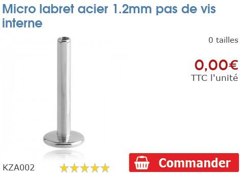 Micro labret acier 1.2mm pas de vis interne