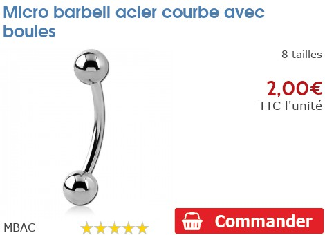 Micro barbell acier courbe avec boules