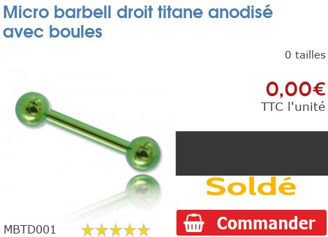 Micro barbell droit titane anodisé avec boules