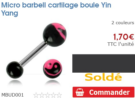 Micro barbell cartilage boule Yin Yang