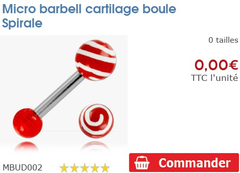 Micro barbell cartilage boule Spirale