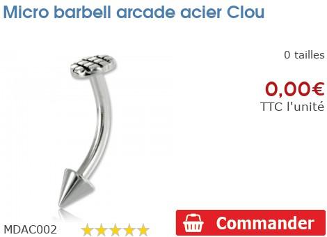 Micro barbell arcade acier Clou