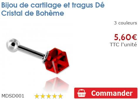 Bijou de cartilage et tragus Dé Cristal de Bohème