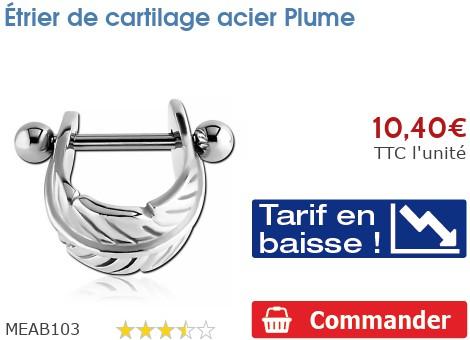Étrier de cartilage acier Plume