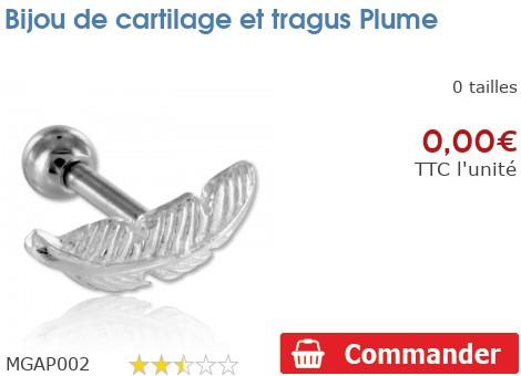 Bijou de cartilage et tragus Plume