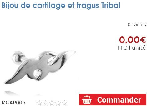 Bijou de cartilage et tragus Tribal