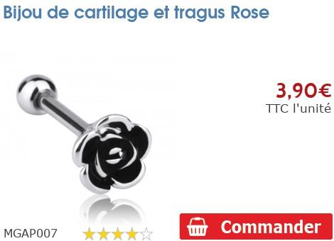 Bijou de cartilage et tragus Rose
