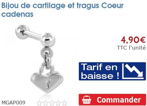 Bijou de cartilage et tragus Coeur cadenas