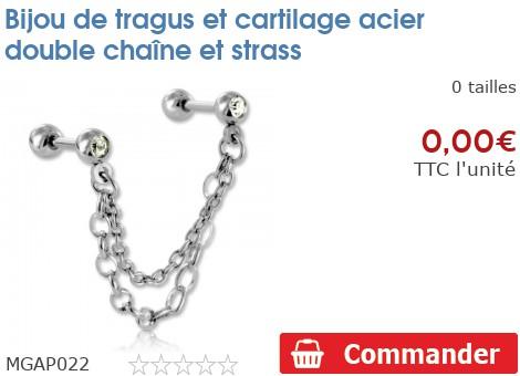 Bijou de tragus et cartilage acier double chaine et strass