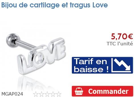 Bijou de cartilage et tragus Love