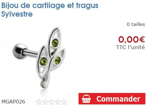 Bijou de cartilage et tragus Sylvestre