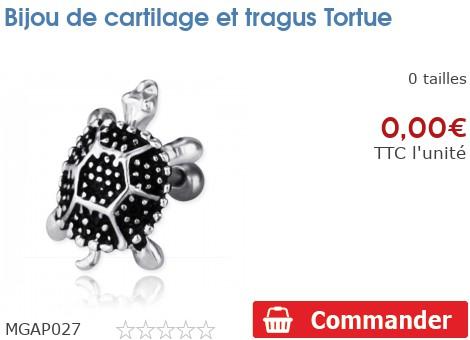 Bijou de cartilage et tragus Tortue