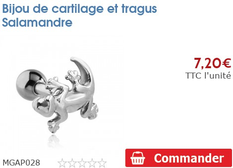 Bijou de cartilage et tragus Salamandre