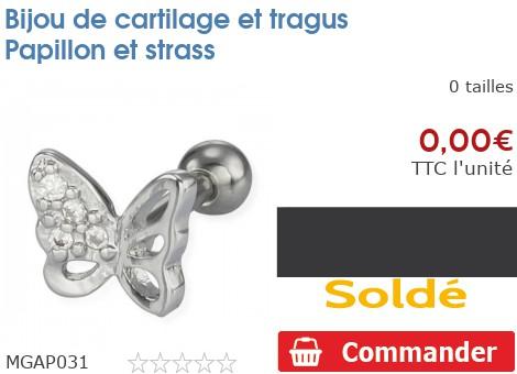 Bijou de cartilage et tragus Papillon et strass