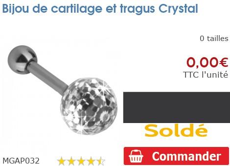 Bijou de cartilage et tragus Crystal