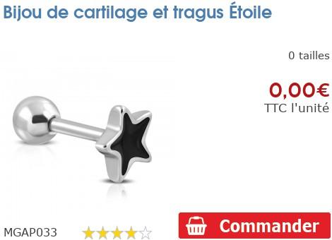Bijou de cartilage et tragus Etoile