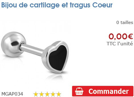 Bijou de cartilage et tragus Coeur